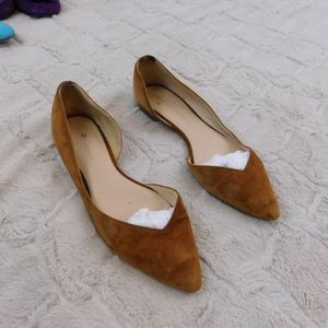 Marc Fisher brown sued flats, 7.5 pointed toe
